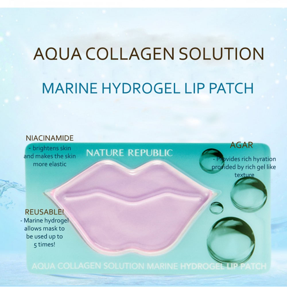 Kết quả hình ảnh cho Nature Republic Aqua Collagen Solution Marine Hydro Gel Lip Patch