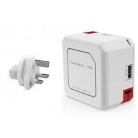 شاحن و توصيلة بأربع مداخل USB مع بنك طاقة متنقل مدمج بقوة 5000 ملي أمبير PowerUSB Portable UK with 5000 mAh battary 4 USB ports