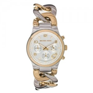ساعة مايكل كورس  Michael Kors Women`s Chronograph Two toned Twist Chain Bracelet Strap MK3199