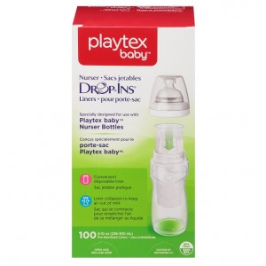 اكياس الرضاعات الشفافة 300مل بلايتكس 100 حبة Playtex Baby Nurser Drop-Ins Baby Bottle Disposable Liners, Closer to Breastfeeding 8 Ounce  100 Count