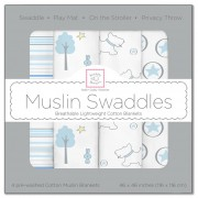 مجموعة مهود مواليد Muslin Swaddle Blankets Blue Forest Set of 4