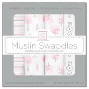 مجموعة مهود مواليد Muslin Swaddle Blankets Pink Thicket Set of 4