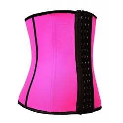 مشد مطاط YIANNA Waist Trainer Corset - Latex Waist Cincher with Three Rows of Hooks XL U36G-2 Rose Latex -fits 31 - 32 inch waistline
