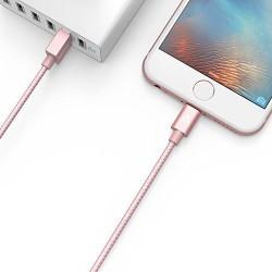 انكر 3ft نايلون برايديد يو اس بي مع لايتنينغ كونيكتور لاجهزة الايفون لون زهري Nylon-Braided MFI USB to Lightning Cable (3ft / 0.9m) / Rose Gold