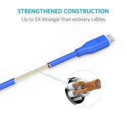 انكر كابل مايكرو للهواتف الذكية يو اس بي لون ازرق 1.8 متر PowerLine Micro USB (6ft / 1.8m) / Blue