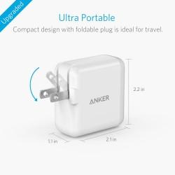 رأس شاحن ثنائي أنكر 24W USB Wall Charger PowerPort 2 / White