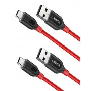 كابل انكر بور لاين حبتين 3ft احمر يو اس بي 2Pack Anker PowerLine+ USB-C to USB A 2.0 Cable 3ft  / Red