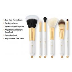 مجموعة فرش بي أتش Bright White - 6 Piece Brush Set with Cosmetic Bag