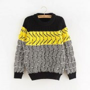 سويتر قطن ملون FR - Contrast Color Sweater -