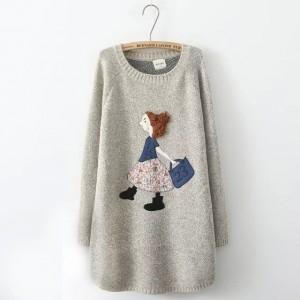 سويتر صوف طويل لون رمادي Nycto - Cartoon Applique Long Sweater - Gray