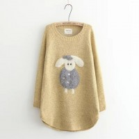 بلوزه بأكمام طويله لون اصفر Nycto - Applique Sheep Long-Sleeve Sweater - Yellow