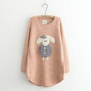 بلوزه بأكمام طويله لون وردي Applique Sheep Long-Sleeve Sweater - Pink