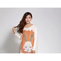 بلوزه طويله لون بيج Dream Girl - Maternity Rabbit Long Sweater - Beige