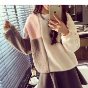 سويتر ابيض رمادي ناعمة Fleece Color Block Sweatshirt - White