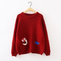 سويتر احمر مطرز بومة ninna nanna - Owl Embroidered Sweater - Wine Red