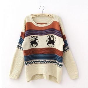 سويتر اوف وايت بألوان زاهية Hidari - Patterned Long Sweater - Off White