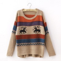 سويتر كاكي بألوان زاهية Hidari - Patterned Long Sweater - khaki