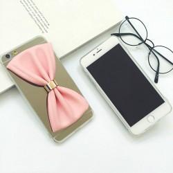 كفر فيونكة بخلفية عاكسة للايفون 6 و ايفون 6 اس 3D Cartoon black pu bow mirror design Iphone 6 & 6s