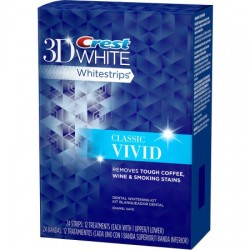 لصقات كرست فيفيد ثري دي Crest 3D White Classic Vivid Whitestrips Dental Whitening Kit 24 count