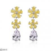 حلق اصفر كريستال earrings