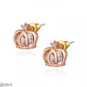 حلق تاج ذهبي _ روز earrings